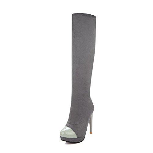 VogueZone009 Damen Ziehen Auf Hoher Absatz Blend-Materialien Rein Hoch-Spitze Stiefel Grau