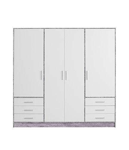 FORTE  Kleiderschrank 4-Türig 6 Schubkästen, Holz, Beton + Weiß, 206.5 x 60 x 200 cm