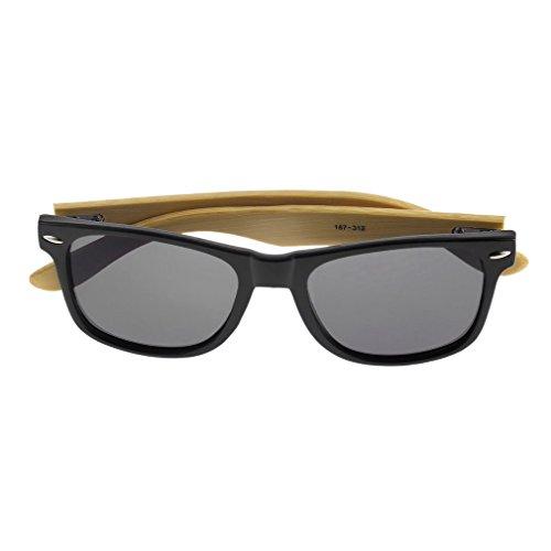 BRIGHT schwarz Vintage Herren Frauen Bambus Sonnenbrille Polarisierte Holzrahmen Brille Holz blau F5
