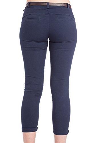 Abbino 2956 Pantaloni Donne Ragazze - Made in Italy - 3 Colori - Pants Primavera Estate Autunno Inverno Slim Fit Casual Tempo Libero Lunghi Sexy Alla Moda Eleganti Aderenti Sportivo - 5 Taglie Blu