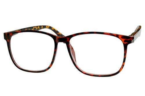 Lesebrille für Damen Herren rot schwarz gepunktet aus Kunststoff mit braunen Federbügeln, sehr leicht, modern, große runde Gläser in 1.0 1.5 2.0 2.5 3.0 Dioptrien, Dioptrien:Dioptrien 2.5
