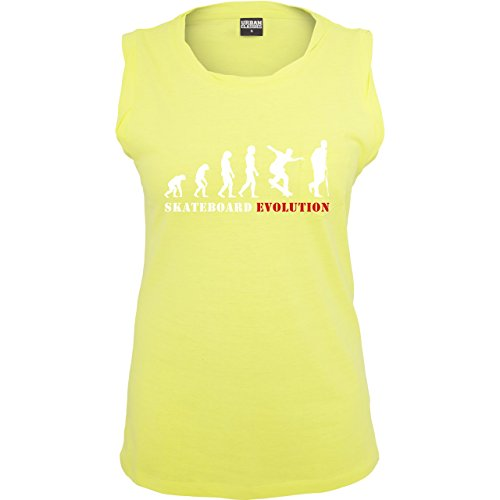Evolution - Skateboard Evolution - ärmelloses Damen T-Shirt mit Brusttasche Neon Gelb
