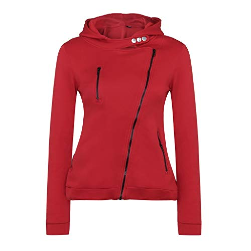 (JURTEE Damen 2019 Jacken, Herbst Und Winterjacke Damenjacke Jacke Reißverschluss Mit Kapuze Sweatshirt(Medium,Rot))