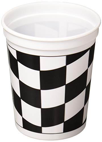 Creative Converting 110546316 Printed Plastic Cup Becher, plastik, schwarz/weiß