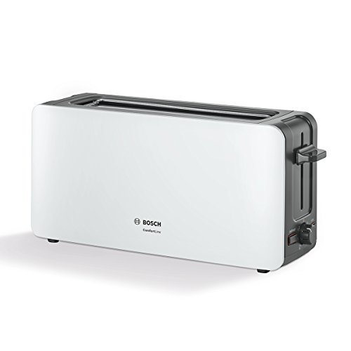 Bosch TAT6A001 Comfort Line-Tostadora de ranura larga, 1090W, automática de la rebanada, función de descongelación, color blanco oscuro