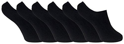 6 paar damen bambus unsichtbar anti schweiß sneaker socken / füßlinge mit silikonferse (37-41 eur, BNSTL Black) (Bambus Socke-liner)