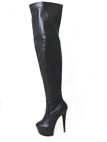 Da donna Sexy Kinky Fetish coscia alta piattaforma tacco a spillo sopra il ginocchio Con Zip Laterale, misura 3, 4, 5, 6, 7, 8
