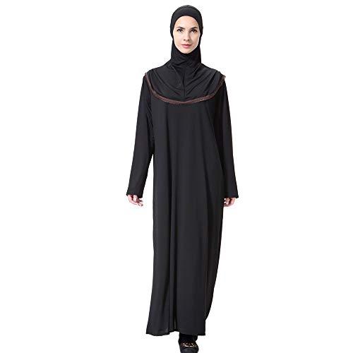 URIBAKY Lange muslimische Hijab mit Kapuze Rock Anzug arabische Kleidung Gebet Kleidungsstück Set XL (schwarz)