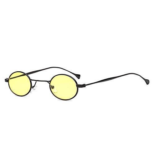 SUNGLASSES Neue Street Fashion Small Frame Brille Europa und die Vereinigten Staaten Metall Mode Sonnenbrillen (Farbe : Black Box Yellow)