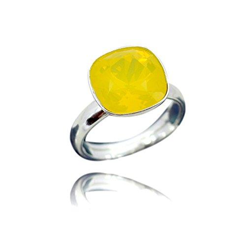 Crystals & Stones 925 Silber Ring *SQUARE* *VIELE FARBEN* Swarovski Elements - 925 Sterling Silber Damen Ring Größe Verstellbar (Yellow Opal) (Echter Opal Ring Größe 7)