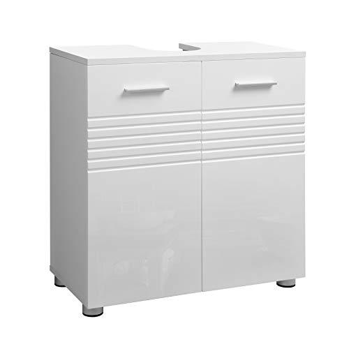 VASAGLE Waschbeckenunterschrank, Badezimmerschrank, Badschrank mit Doppeltür und Verstellbarer Ablage, Waschtisch fürs Badezimmer, sanft schließende Scharniere, 60 x 30 x 63 cm, weiß BBK01WT -