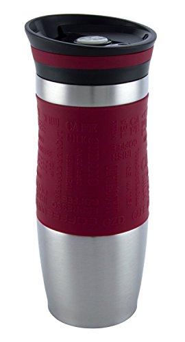 Vakuumisoliert Hervorragende Qualität Thermobecher Travel mug Für Kaffee oder Tee Rostfreier Stahl Thermosflasche Doppelwandig Ein Hand öffnen (400 ml, Rot) -