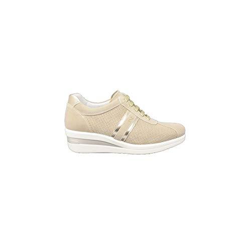 Sneakers nerogiardini in nabuk effetto traforato colore avorio zeppa media (taglia 39)