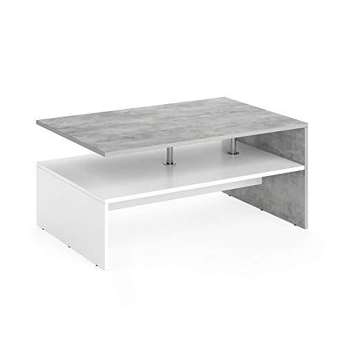 VICCO Couchtisch Amato 90 x 60 cm - Wohnzimmertisch Beistelltisch Holztisch Kaffeetisch - 3 Farben zur Auswahl (Beton Weiß)
