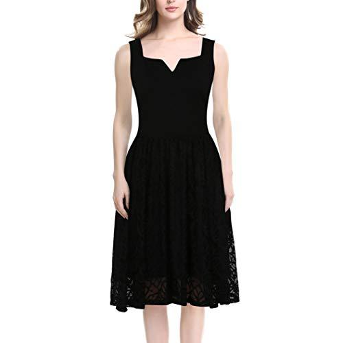 KILOLONE Damen Plus Size Elegant Kleider Spitzenkleid Cocktailkleid Rockabilly V-Ausschnitt (Sexy Plus Size Kleid Schwarz)