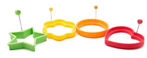 """Zollner24 set di 4 formine in silicone per uova/stampi pancake per la pentola con manico in metallo a forma di stella (verde), cuore (rosso), cerchio (arancione), fiore (giallo), serie """"egg-4"""""""