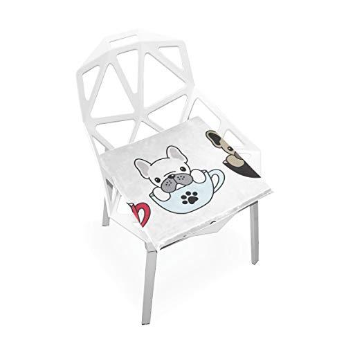 Enhusk Puppy Dog Sweet Pet Fashion Decor Benutzerdefinierte Weiche Rutschfeste quadratische Memory Foam Chair Pads Kissen Sitz für Home Kitchen Esszimmer Büro Schreibtisch Möbel Indoor 16 x 16 Zoll - Französisch Quadratische Kissen
