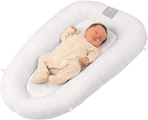 ClevaMama ClevaSleep Riduttore Lettino e Culla Neonato Antisoffoco, Baby Nest Portatile, Bianco, 0-6 Mesi, Dimensioni esterne: 520mm x 870mm