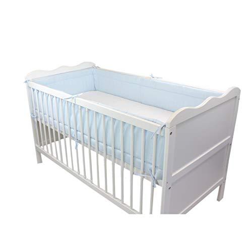 TupTam Protector para Cama de Bebé Largo Acolchado, Azul, 420x30 cm Cuna 140x70 cm