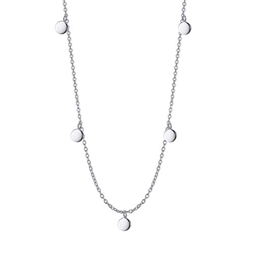 DAOCHONG Ladies Necklace S925 Sterling Silver Disc Chain Choker Statement Necklace Adjustable Jewelry for Women, 13 + 2