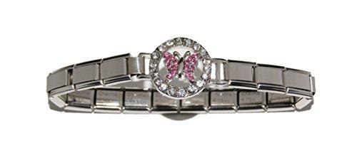 Bracciale con farfalla e pietre rosa, 9 mm Italiano-Bracciale per Zoppini, e pendenti stile Talexia Nomination