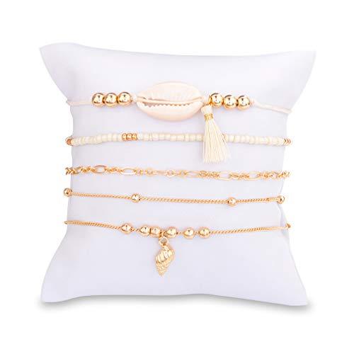 kemai Shell Perlen Knöchelkette Armband Fuß Kette Sandale Fußkettchen Perlen Armband Schmuck Barfuß Sandale Strand Fuß Schmuck Geschenk