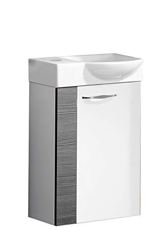FACKELMANN SCENO Gäste WC Set rechts 2 Teile/Keramik Waschbecken/Waschbeckenunterschrank mit 1 Tür/Soft-Close/Türanschlag rechts/Korpus: Weiß/Front: Weiß/Blende: Schwarz/Breite: 45 cm