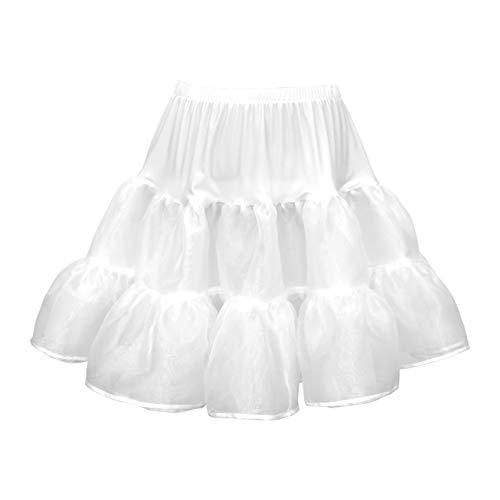 r Rockabilly Petticoat 1950er-Jahre Komplett aus Satin-Organza Tellerrock (Weiß, 3-4 J / 98-104) ()
