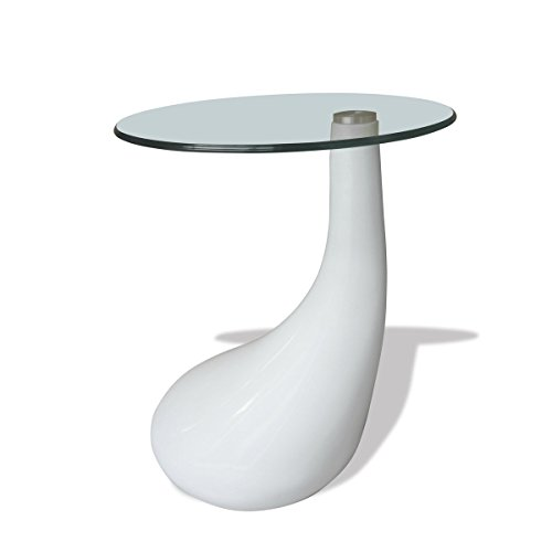 Tavolino salotto moderno vetro design bianco a goccia