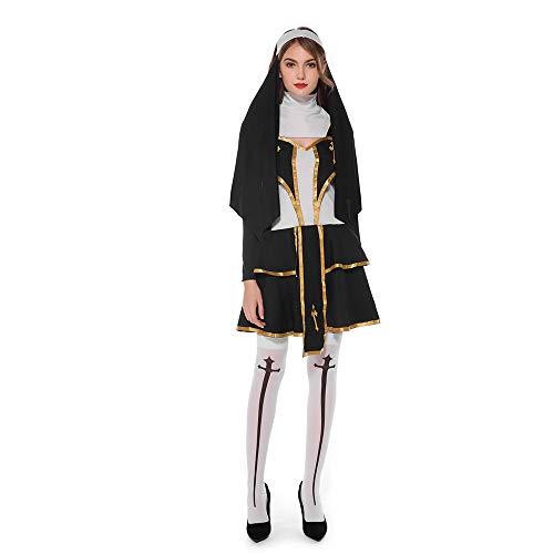 Männlich Kostüm Nonne - LPP Paar-Halloween-Kostüm, Männliche Priester-Liebhaber-Weibliche Nonnen-Missionsuniformen Für Parteien, Tänze, Karneval,Women,M