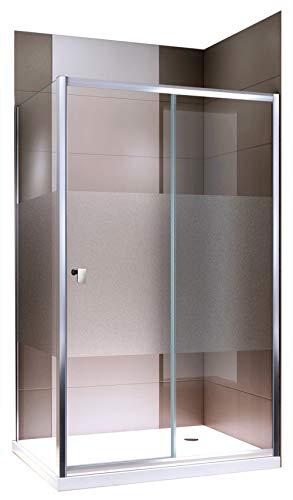 Bernstein Badshop Duschkabine Eckdusche NANO Echtglas ESG Dusche EX504 - Milchglas Streifen - Duschwand 90x120x195cm