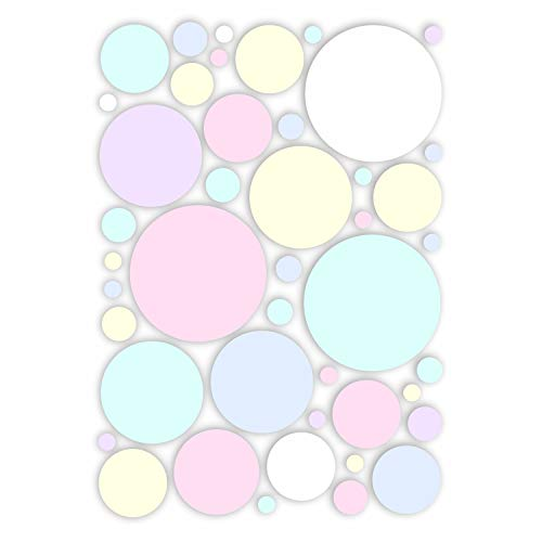 Aufkleber-Set Kreise I Pastell-Töne I Ø 1 bis 8 cm I Sticker für Bad Küche Glas-Tür Fahrrad Laptop Handy Auto-Aufkleber I wetterfest I dv_416