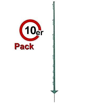 Göbel Weidezaunpfahl PP Copo GF Kunststoffpfahl 105cm 7 Bandösen 3 Seilösen mit Stahlnagel grün 10 St. von Göbel bei Du und dein Garten