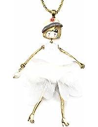 9d9fc5a27b18 Oh My Shop SP789E - Sautoir Collier Pendentif Poupée Articulée Robe  Sequins