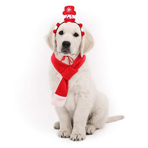 POPETPOP Haustier Weihnachten Kostüm Zubehör Hund Schneemann Stirnband und Weihnachten Schal Set für Hunde Katzen Haustiere -