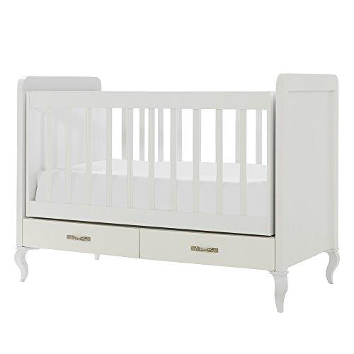 Mitwachsendes Babyzimmer Snowy mit Kommode, Kleiderschrank und Babybett mit Wipp-Funktion, Kombination:Kleines Bett. 4-türiger Kleiderschrank