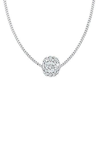 Elli Damen Schmuck Halskette Kette mit Anhänger Kugel Collier Silber 925 Swarovski® Kristalle Weiß Länge 45 cm