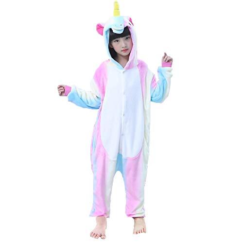 ma Strampler Schlafanzug Tier Kostüm für Halloween Karneval Fasching, Einhorn Bunt kostüm, Gr. 128/134 (Herstellergröße 115/130) ()