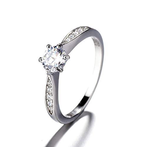 GFLD Sechskrallen-Ring aus Sterlingsilber Bilateraler, mikroförmiger, achtherziger Pfeil Zirkon-Frauenring Silbe