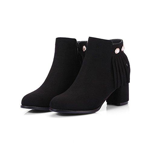 Orlata scarponi invernali con testa ruvida e comfort black