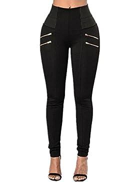 ZANZEA Pantalones Largos Casuales Elegantes Oficina Yoga Jogging Deportivos para Mujer