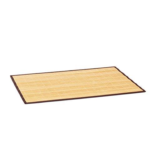 Relaxdays Badvorleger Bambus BxT: 80x50 cm Badeteppich aus Holz mit rutschhemmender Unterseite als praktischer Duschvorleger aus natürlichem Bambus und Stoff in verschiedenen Farben fürs Bad, natur - Teppich Läufer Wieder Gummi