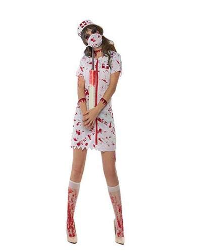 Damen Naughty Nurse Doctor Uniform Halloween Kostüm Hens Party Kostüm Outfits (Kleid + Hut + Maske) - Naughty Nurse Kostüm