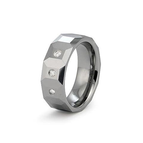 Gratuit Personnalisé Gravure Carbure de tungstène 0.10ctw anneau bague en diamant à facettes - Taille 71 (Clôture VENTE