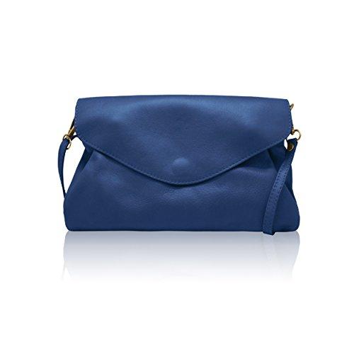 MELANY B Mini borsa pochette pelle liscia morbida a tracolla Made in Italy blu