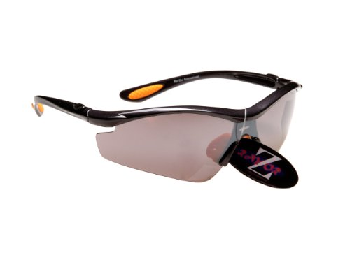RayZor Professional Lightweight UV400 GunMetal Grey Sports Wrap Golf Sunglasses, With a 1 Piece Smoked Mirrored Anti-Glare Lens