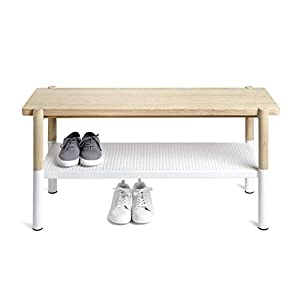 Umbra 320800-668 Promenade Bench White/Natural, Wood 99.06x36.83x46.35 cm