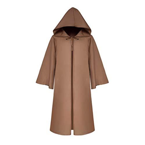 Kostüm Furry Sexy - Binggong Steampunk Cloak Mittelalter Kostüm Halloween Hooded Cape Hälfte Ärmel Outwear Coat