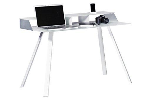 Jahnke SMART WORK WGL/ALU GESCHL Laptop-Schreibtisch, Echt-Aluminium geschliffen, ESG-Sicherheitsglas, Metall pulverbeschichtet, weißglas, 120 x 60 x 83 cm