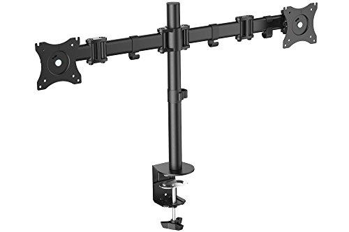 """DIGITUS Dual-Monitor Ständer / Klemmhalterung für 15""""-27"""" Monitore, schwenkbar, neigbar, rotierbar, schwarz"""